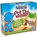 Nestlé Bébé P'tit Dej Saveur Biscuit Noisette - Brique Lait & Céréales dès 12 Mois - 2 Briques de 250ml - Lot de 4