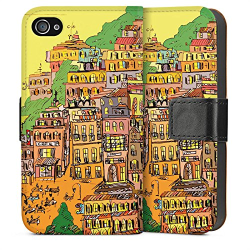 Apple iPhone 5s Housse étui coque protection Ville couleurs Art Sideflip Sac