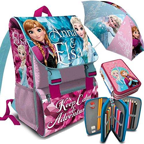 Kit Scuola 3 in 1 School Promo Pack Zaino Estensibile + Astuccio 3 Zip Accessoriato + Ombrello Salvaspazio Disney Frozen Anna e Elsa Edizione 2017-2018