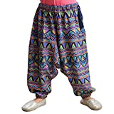 #4: Snowflakes Girls Multi-Coloured Harem Pants with Triangle Print