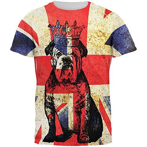 T Shirt Flagge Britische (Englische britische Bulldogge Krone Grunge Flagge aller Herren T Shirt Multi LG)