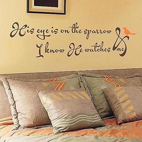 Decalcomania da parete con la sua 'occhio sulla Sparrow e so mi ha orologi decalcomania da parete in vinile con scritta con uccellino Accent decalcomania citazione Bibbia dire (Grigio + Rosa, 12