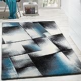 Alfombra De Diseño Para Sala De Estar Pelo Corto Turquesa Gris Crema Negro, Grösse:160x220 cm