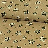 Dekostoff Weihnachten Sternenmuster beige Canvas - Preis