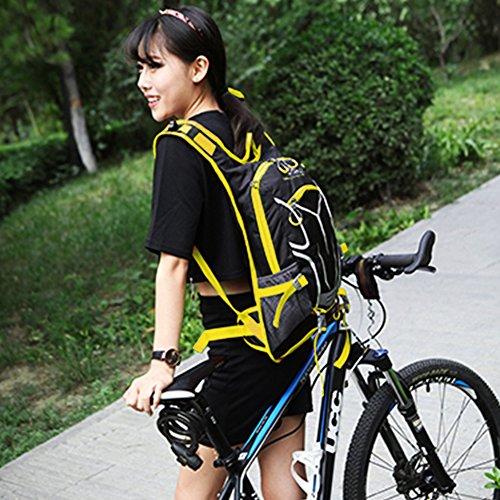 Radfahren Rucksack & Radfahren Tagesrucksack Wasser Beständig mit Helm Netz, Regen Abdeckung und Telefon Tasche zum Männer und Frau Gelb