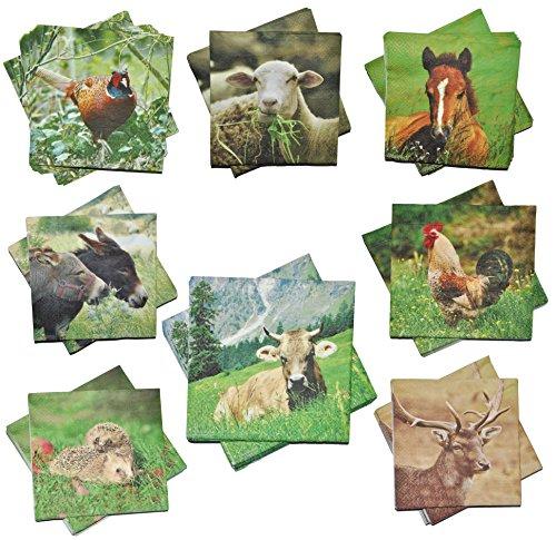 Unbekannt 8 Set´s: Servietten - mit verschiedenen Tier Motiven - Serviette Tischserviette Papier Party - Tiere Tierservietten / Waldtiere ()
