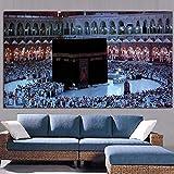 FKSRET HD Stampa Mecca Islamica Paesaggio Sacro Pittura a Olio architettura Religiosa moschea Musulmana Immagine della Parete per Soggiorno Cuadros A2 20X40 cm Senza Cornice