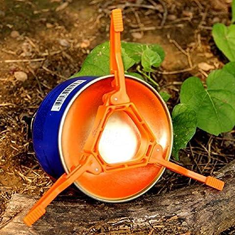 Camp Réchaud + Pot Poêle + Boîte à support trépied pliable, shayson extérieur Camping Randonnée cuisson gaz Support pour bouteille de carburant peut Stabilisateur - Canister Stand Tripod