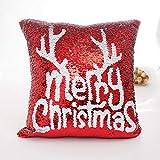 Joyeux Noël Taie d'oreiller, ZahuihuiM Couleur Paillettes Paillettes Taie d'oreiller Café Home Decor Canapé De Voiture Coussin