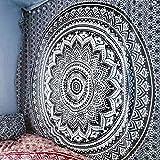 Wandteppich Mandala für Schlafzimmer Wandtuch Wall Hanging Indisch Wand Tapestry Wandteppich Indian Tuch Hippie Wall Hanging Bed Sheet (Schwarz, 150 * 150 cm)
