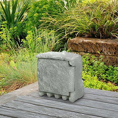 ECD Germany 4-fach Außensteckdose IP44 220-240 V / 50-60 Hz mit 1,5m Kabel und Klapptür mit vier Kabeldurchlässen Grau Steinsteckdose Steckdose Gartensteckdose
