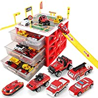 WISHTIME Car Garage Fire Engine Toy Car Storage Parking Lot with Slides for Vehicles Firefighter Role Play Toys Organizer Box Gift Idea for 3 4 5 Year Old Boy Girl (With 6 Diecast Vehicles )