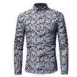 Schlanke Hemden Männer Langarm-Shirt Oberteile Retro Floral Bedruckte Bluse GreatestPAK