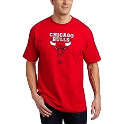 adidas NBA Chicago Bulls - Camiseta de manga corta, NBA, hombre, color rojo, tamaño Large