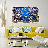 3DA0018 Adesivo murale Arredo Casa Wall Art - Acquario di corallo 3D - Misure 110x65 cm - Decorazione parete, adesivi per muro, carta da parati