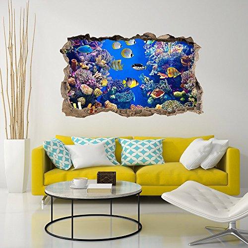wall art 3DA0018 Adesivo murale Arredo Casa Acquario di Corallo 3D Misure 110x65 Decorazione Parete Adesivi per Muro Carta da Parati