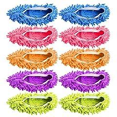 Idea Regalo - KAIFANG 10pz 5paia Duster mop pantofole scarpe copertura, multi funzione ciniglia fibra lavabile Dust mop pantofole scarpe pulizia pavimento per bagno, ufficio, cucina, casa panno di pulizia