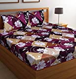 """Amayra Home Luxury Tweel 100% Cotton Queen Double Size Bedsheet with 2 Pillow Covers 17"""" X 27"""" (Queen Size(90"""" X 100""""), Maroon)"""
