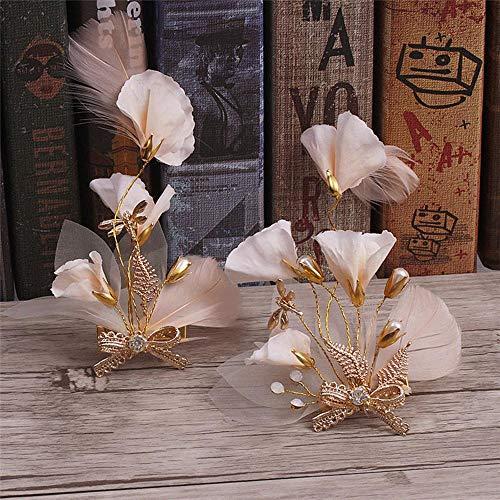 Littlefairy Braut Haarschmuck,Handgemachte Blume Feder Kopfschmuck Braut Brautkleid Zubehör...