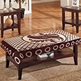 #7: eretailer Cotton 4 Seater Leave Design Centre Table Cover (Brown, 40x60 inches)