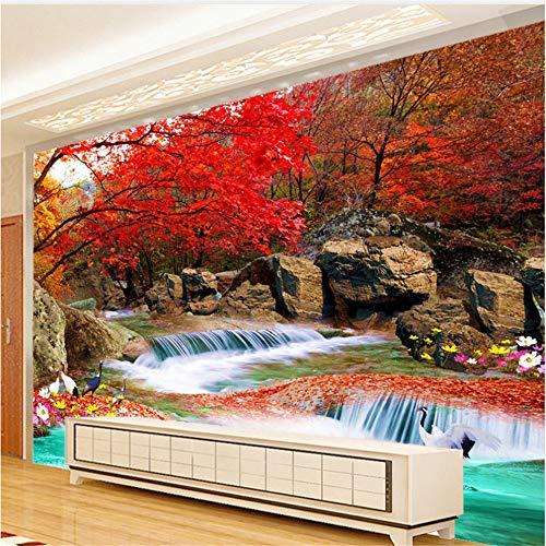Guyuell Chinesischen Stil 3D Wandbild Wandbild Papier Naturlandschaft Xiangshan Rot Blätter Kran Fototapete Wandbild 3D Raum Landschaft-350Cmx245Cm