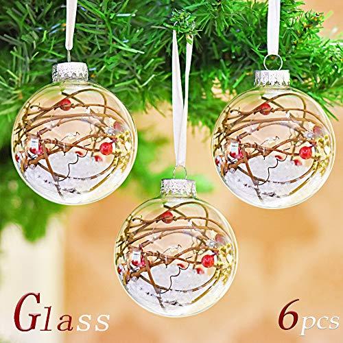 10c7ff05b56 Valery Madelyn 6 Piezas 80mm Bolas de Navidad Transparente de Cristal