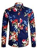 Herren Hemd Langarm Shirt Freizeit Blumenhemd Party Regular fit Hemd für Männer 1034 Blau XL