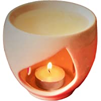 Pure Source India Ceramic Aroma Burner (4 x 4 inch, Ivory & White)