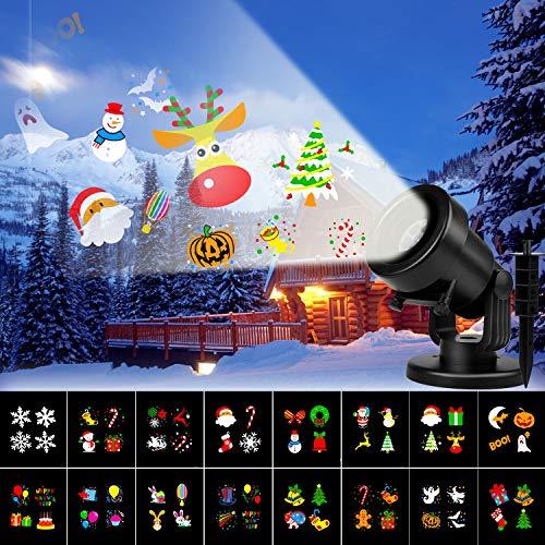 Albrillo LED Projektionslampe - Weihnachten Projektor mit 16 Motiven, LED Lichteffekt Lampe Wasserdicht geeignet für innen/außen, Dekorationslicht für Halloween, Geburtstag Party und Festival
