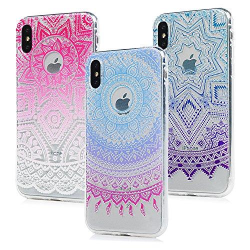 3x Cover iPhone X, Custodia Morbida Silicone TPU Flessibile Gomma - MAXFE.CO Case Ultra Sottile Cassa Protettiva per iPhone X - Modello 1 Modello 1
