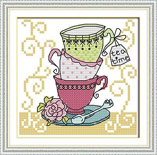 Kreuzstich Stickerei - Das beste Gezählten Kreuzstich-Set Kunst DIY Handarbeit Stickpackung Set Kit Home Decoration Tasse Muster 18 * 18cm(Enthält den Rahmen nicht)