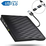 USB C External CD DVD Drive, USB Type C Adapter to USB 3.0 Superdrive Optical Drive DVD CD+/-RW Burner Writer Compatible with