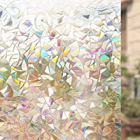 Rabbitgoo 3D Non-Adhesive Window Film Decorative Privacy Static Clings Rainbow Colorful Pattern Glass Film 90CM x 200CM