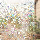 Rabbitgoo 3D Non-Adhesive Window Film Decorative Privacy Static Clings Rainbow Colorful Pattern Glass Film 90CM x 200CM