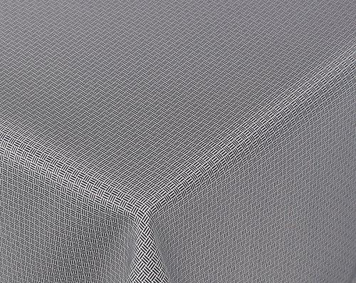 Amaris Lotus Jacquard Tischdecke für Heim und Garten, wasserabweisend, schwarz/weiß, Größe wählbar (Eckig 130 x 220 cm)