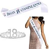 """FLOFIA Corona Compleanno 18 Anni Corona Tiara Principessa Cristallo Diamande di Strass con Fusciacca Fasica """"Buon 18° Complea"""