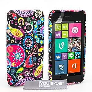 Yousave Accessories Coque Nokia Lumia 530 Noir / Couleur Multi Silicone Gel Méduse Housse
