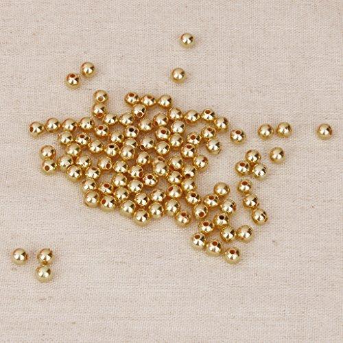 P Prettyia 100 pcs rund Perlen zum Fädeln Basteln Acryl Dekoperlen Spacer Beads Zwischenperlen Für Schmuck Machen Perlen 6mm - Gold, 4mm