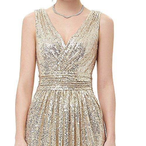 Abendkleid für Damen Bodenlang sexy Hochzeit Kleid licht Gold Größe 40 KK199-1 - 5
