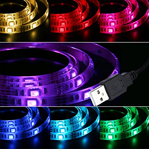 Liqoo® 50cm 0,5m USB 2.0 de la cadena ligera de la carpa impermeable IP65 tira del RGB LED, 20 colores individuales, 15 x 5050 SMD [energética A +]