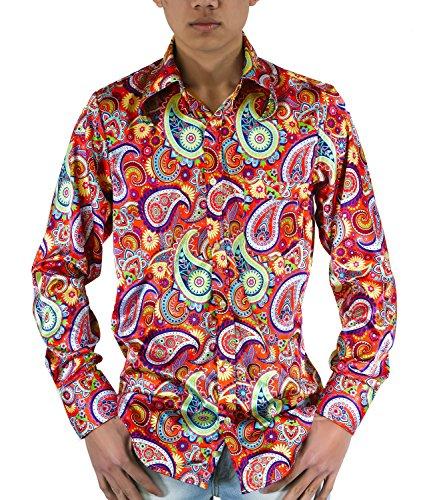 Comycom Buntes 70ger Paisley Muster Hemd, XL, Mehrfarbig