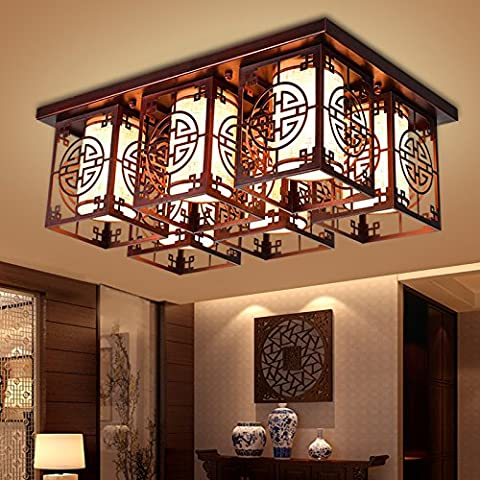midtawer Nuovo cinese di luce a soffittoMinimalista ristorante rettangolare ferro luce soggiorno lampadeL'hotel è luminoso Cina vento luci a parete,Rosso antico spazzolato,E14*6Testa