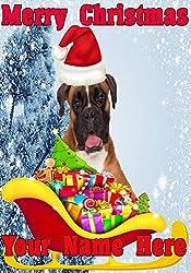 Boxer Hund Santa Schlitten nnc182Humorvolle Weihnachten Karte A5personalisierbar Karten geschrieben von uns Geschenke für alle 2016von Derbyshire UK