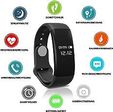 Fitness Tracker HeiterBlau / Powerarmband / Sport Uhr / Smartwatch für Phone und Android mit Pulsmesser, Herzfrequenzmesser, Schrittzähler, Schlaftracker, Vibrationswecker / Geschenk