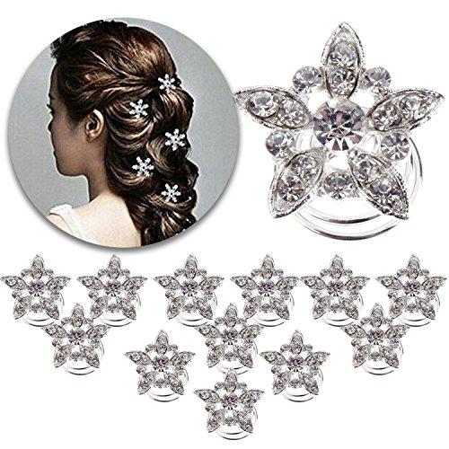 ling Set aus 12Spirale hairdos Pins Twist Haarnadeln Twister Folien Curlies Spiralen Brautschmuck Brautjungfern Dekorationen mit Blumen Formen und Kristalle Strass Jewels (Strass-folien)