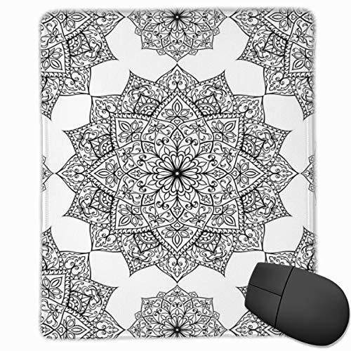 Mouse Mat Stitched Edges, Middle Eastern Mosaic Secret Body And Spirit Mandala Motif Active World Image,Gaming Mouse Pad Non-Slip Rubber Base -