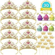 Casibecks Tiara Princesa Niña Princesa Corona Cupcake Topper Princesa Disfraz Accesorios para niñas Fiesta Cumpleaños Party