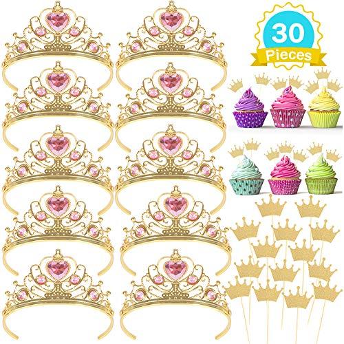 Krone Set und Tiara Cupcake Topper Prinzessin Kostüm Zubehör für Kinder Mädchen Geburtstag Party 30 Stk. ()