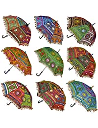 Ekam Art Sun Protection Rajasthani Umbrella Handicraft Walking Stick Umbrella 5 Pcs Navratri Decoration Items