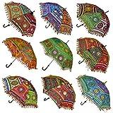 Ekam Art Cotton Sun Protection Rajasthani Handicraft Umbrella, 24x28-inches, Multicolour (Pack of 10)